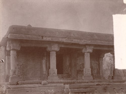 Colonnade in the great Jain temple, with statues of tirthankaras, Deogarh